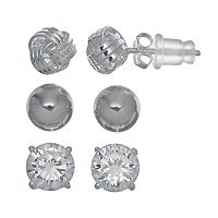Pure 925 Cubic Zirconia Sterling Silver Love Knot & Ball Stud Earring Set
