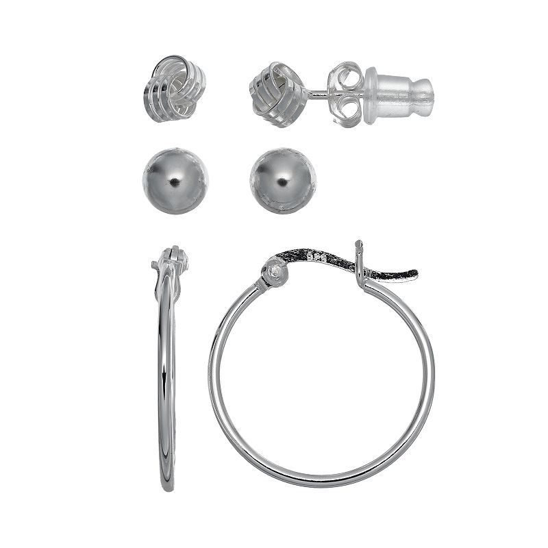 Pure 925 Sterling Silver Love Knot, Ball Stud & Hoop Earring Set