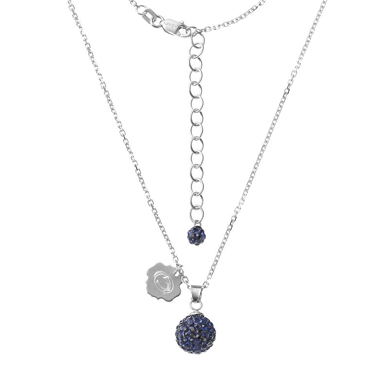 Penn State Nittany Lions Crystal Sterling Silver Team Logo & Ball Pendant Necklace
