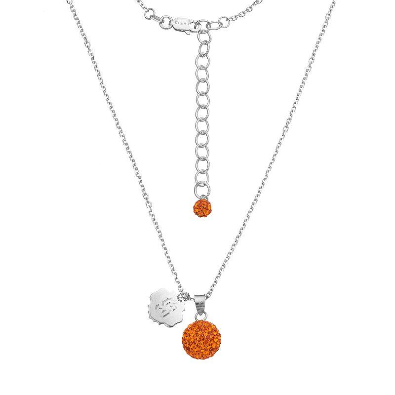 Syracuse Orange Crystal Sterling Silver Team Logo & Ball Pendant Necklace
