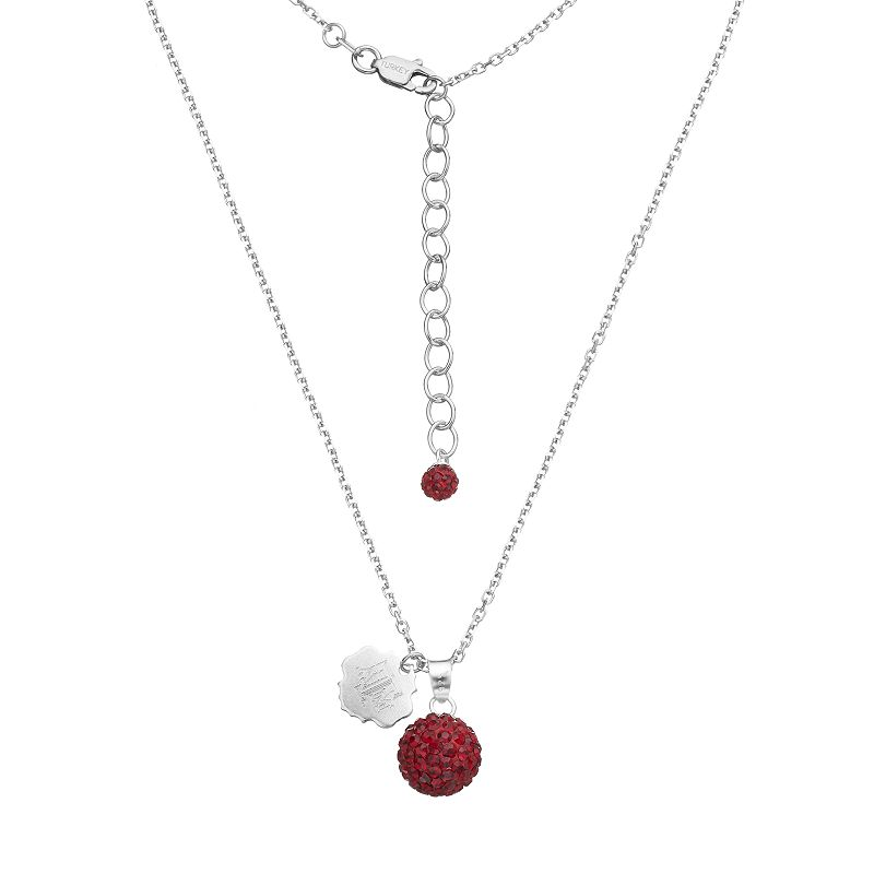 Texas A&M Aggies Crystal Sterling Silver Team Logo & Ball Pendant Necklace