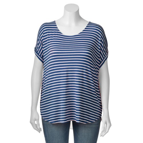 Plus Size Apt. 9® Striped Split-Back Top