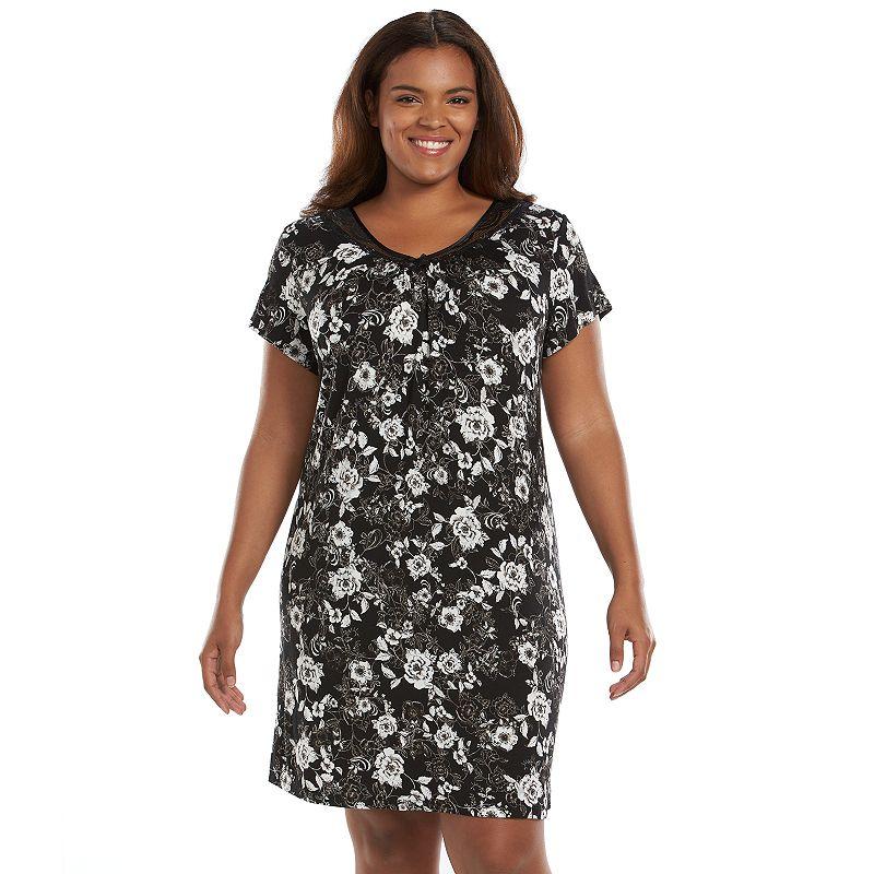 Plus Size Apt. 9 Pajamas: Love Story Lace-Trim Sleepshirt, Black