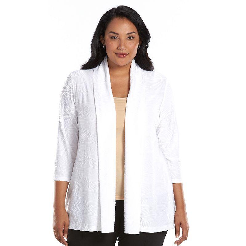 Plus Size Croft & Barrow® Wavy Jacquard Open-Front Cardigan