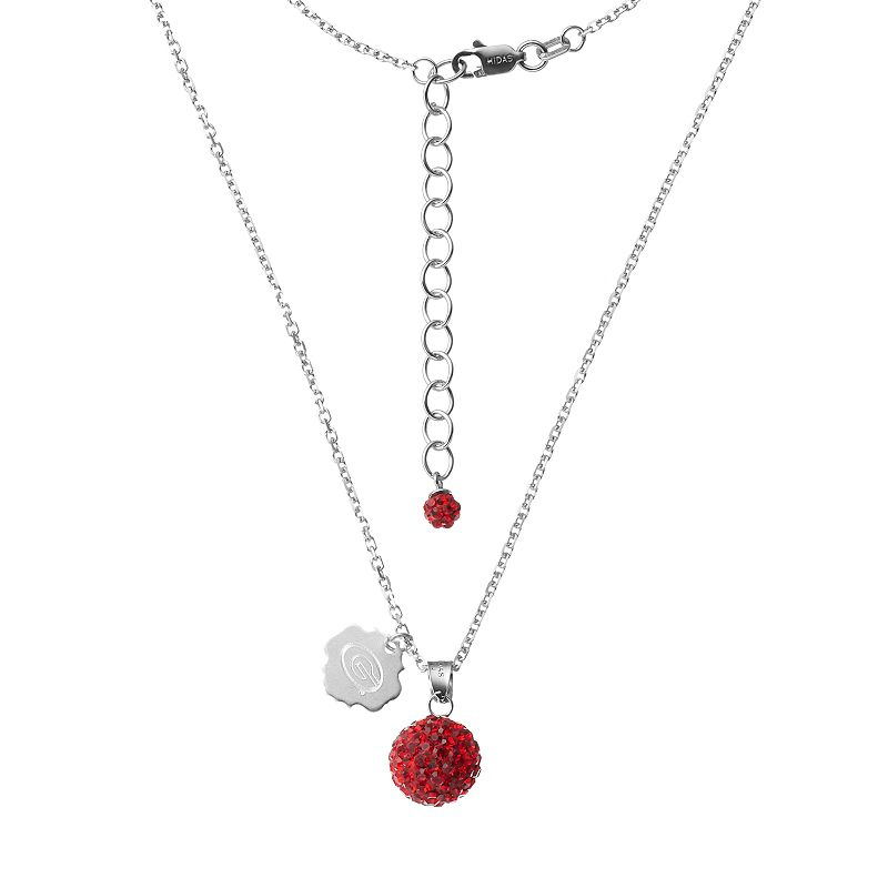 Georgia Bulldogs Crystal Sterling Silver Team Logo & Ball Pendant Necklace