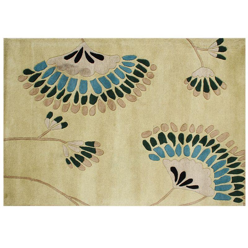 Alliyah Rugs ZnZ Beige Floral Wool Rug