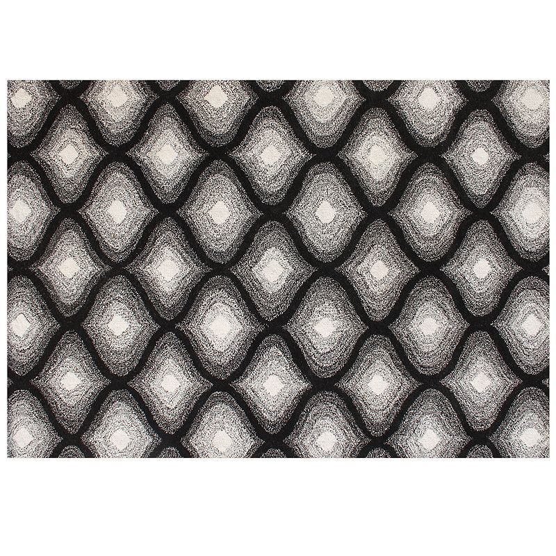 Alliyah Rugs ZnZ Black White Geometric Wool Rug