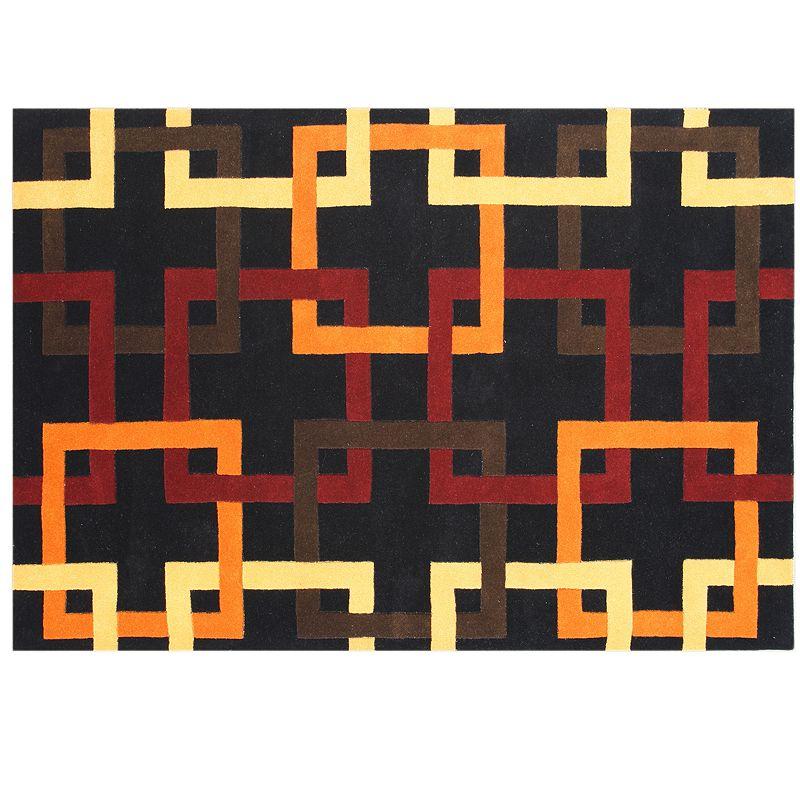 Alliyah Rugs ZnZ Orange Geometric Wool Rug
