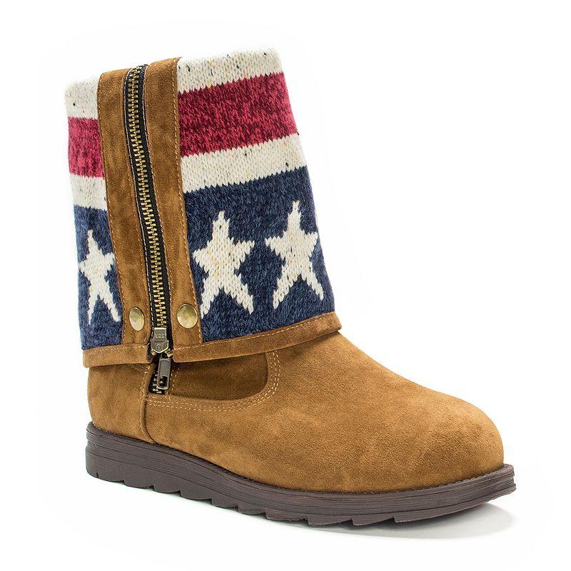 MUK LUKS American Flag Demi Fold Over Boots