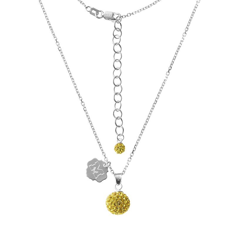 Michigan Wolverines Crystal Sterling Silver Team Logo & Ball Pendant Necklace