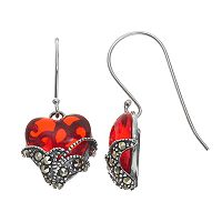 Tori Hill Sterling Silver Red Glass & Marcasite Heart Drop Earrings