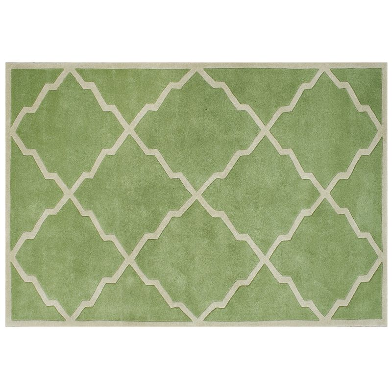 Alliyah Rugs ZnZ Forest Green Beige Geometric Wool Rug