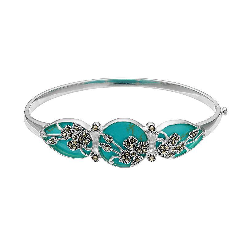 Tori HillSimulated Turquoise & Marcasite Flower Hinged Bangle Bracelet