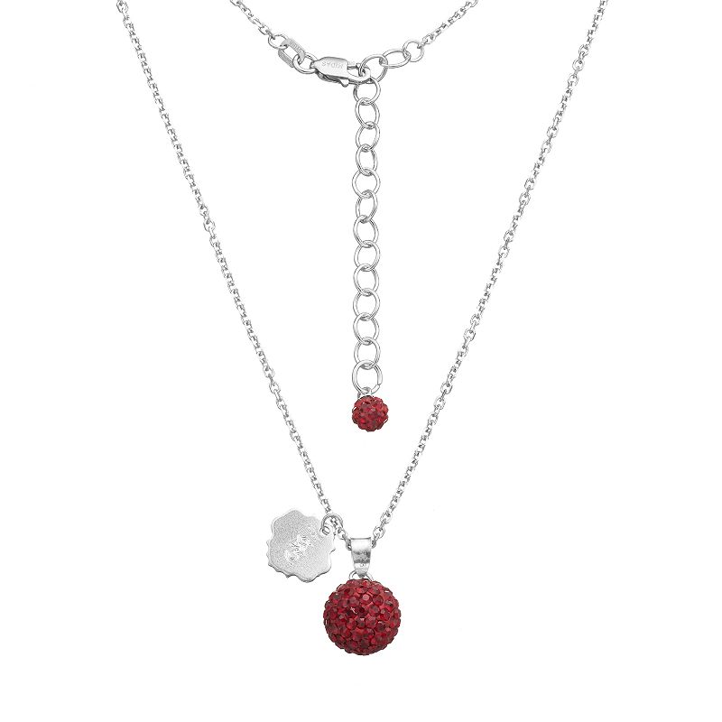 South Carolina Gamecocks Crystal Sterling Silver Team Logo & Ball Pendant Necklace