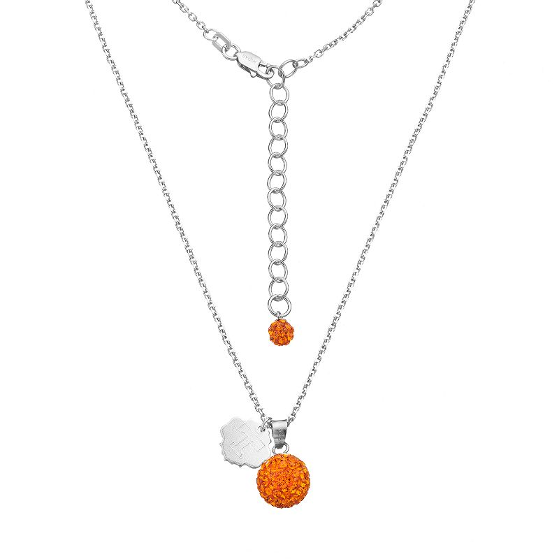 Tennessee Volunteers Crystal Sterling Silver Team Logo & Ball Pendant Necklace