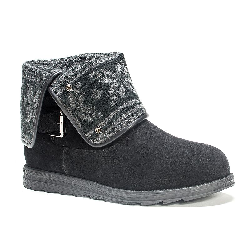 MUK LUKS Jess Women's Fairisle Fold Over Ankle Boots