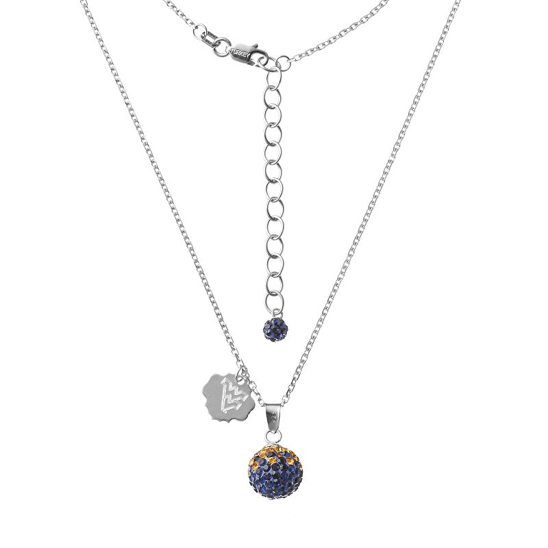 West Virginia Mountaineers Crystal Sterling Silver Team Logo & Ball Pendant Necklace