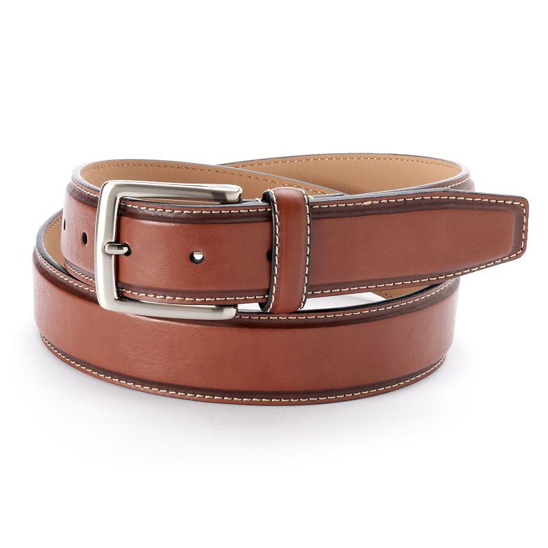 Croft & Barrow Feather Edge Contrast-Stitched Belt - Men