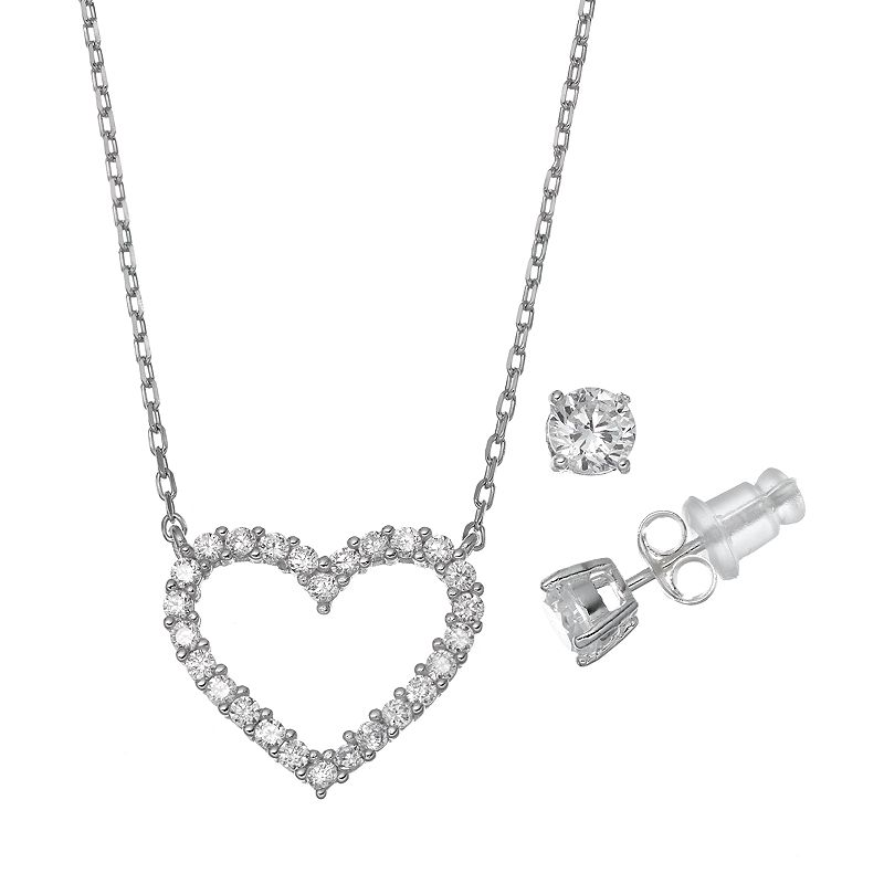 Pure 925 Cubic Zirconia Sterling Silver Heart Necklace & Stud Earring Set