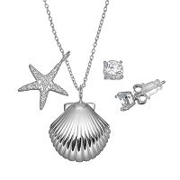 Pure 925 Cubic Zirconia Sterling Silver Shell & Starfish Pendant Necklace & Stud Earring Set