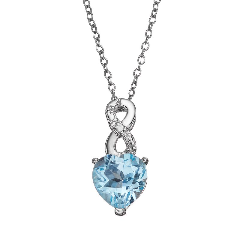 RADIANT GEM Blue Topaz Sterling Silver Infinity & Heart Pendant Necklace