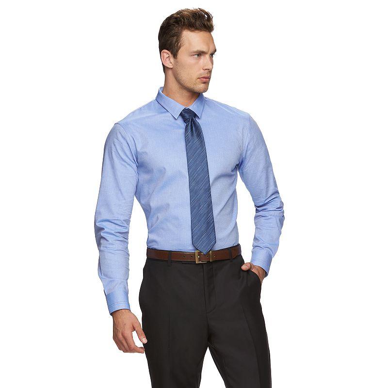 Marc Anthony Extra-Slim Fit Diamond Crosshatch Stretch Button-Down Shirt - Men