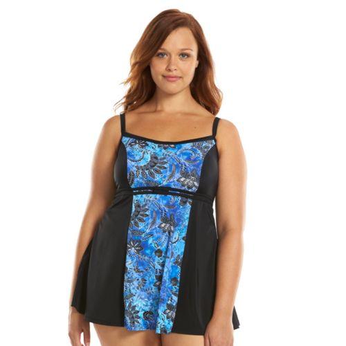 Plus Size A Shore Fit Hip Minimizer Colorblock Swimdress