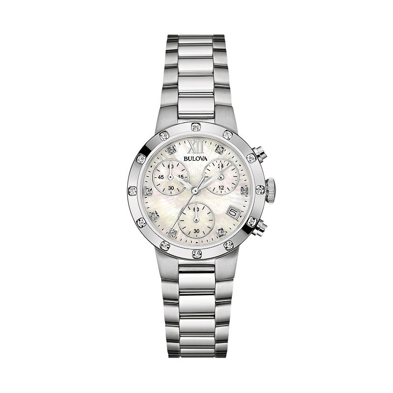 Bulova Women's Diamond Stainless Steel Chronograph Watch - 96R202