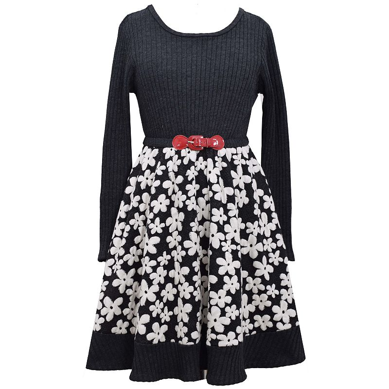 Bonnie Jean Girls 4-6x Knit Floral Jacquard Dress
