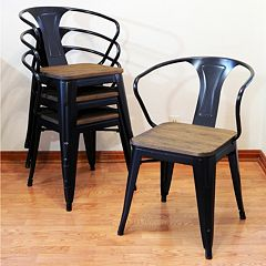 AmeriHome 4-piece Loft Metal Dining Chair Set by