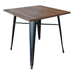 AmeriHome Loft Wood Top Metal Dining Table by