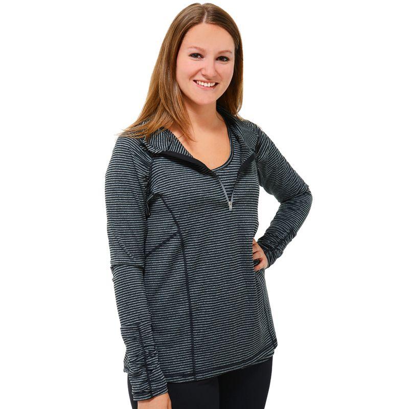 Plus Size 90 Degree by Reflex Striped Half-Zip Raglan Workout Top, Women's, Size: XL, Ovrfl Oth