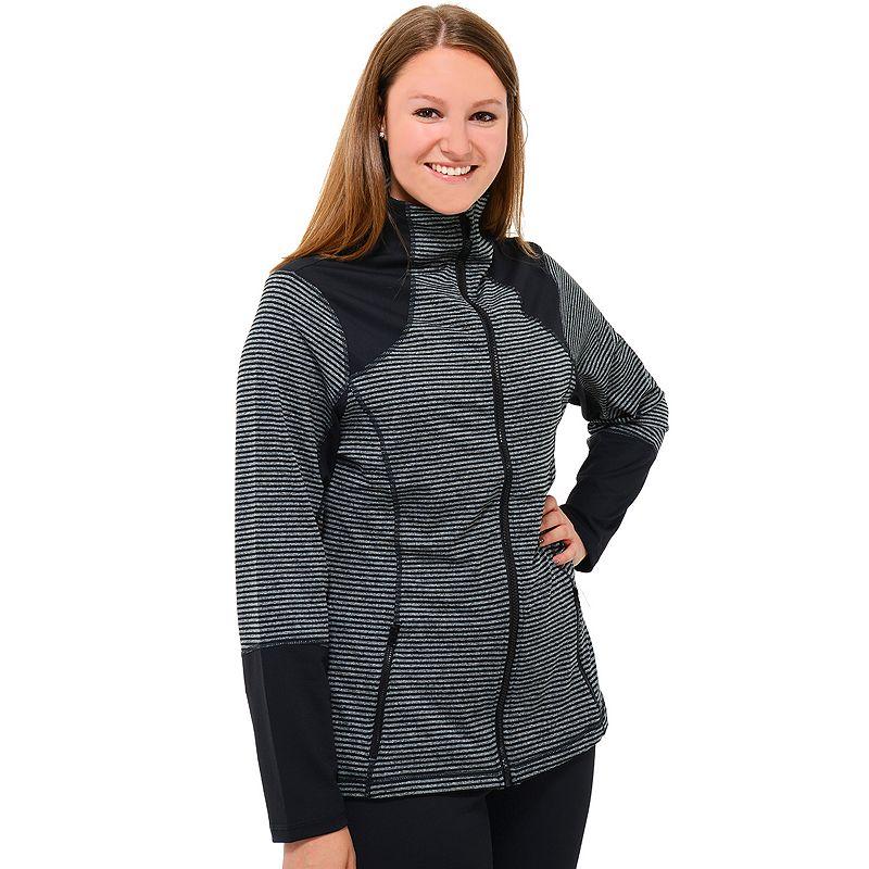 Plus Size 90 Degree by Reflex Two-Tone Striped Workout Jacket