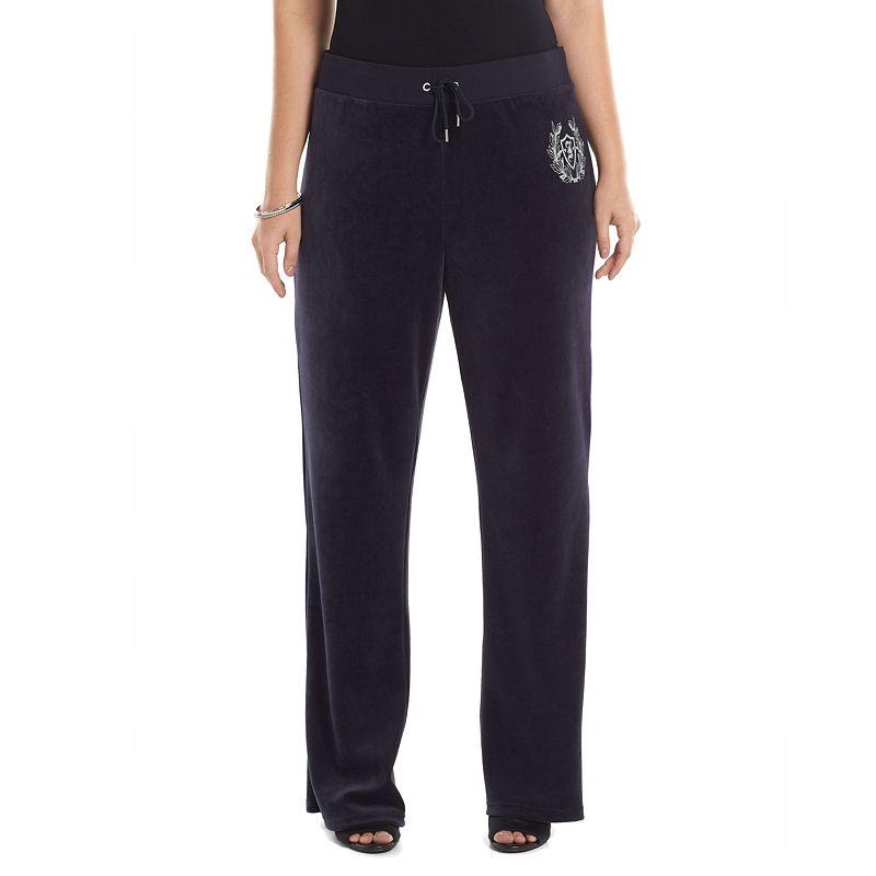 Plus Size Juicy Couture Glitter Graphic Bootcut Velour Pants