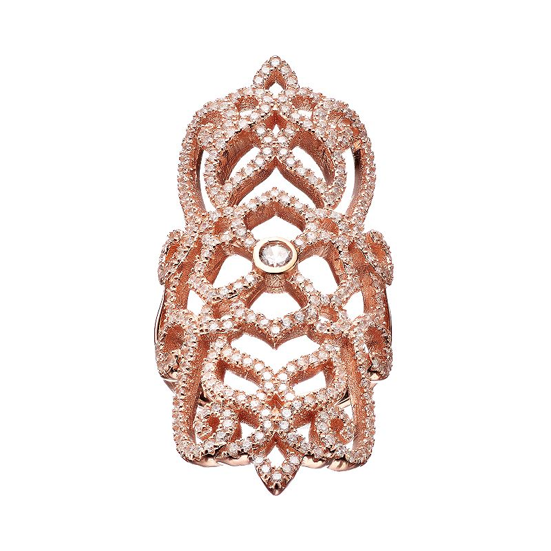 Cubic Zirconia Rose Gold Tone Sterling Silver Filigree Ring