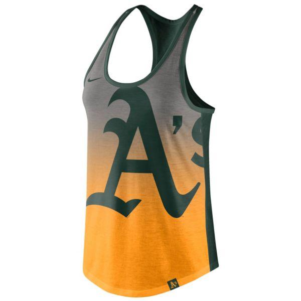 Women's Nike Oakland Athletics Fade Racerback Tri-Blend Tank Top
