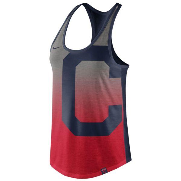 Women's Nike Cleveland Indians Fade Racerback Tri-Blend Tank Top