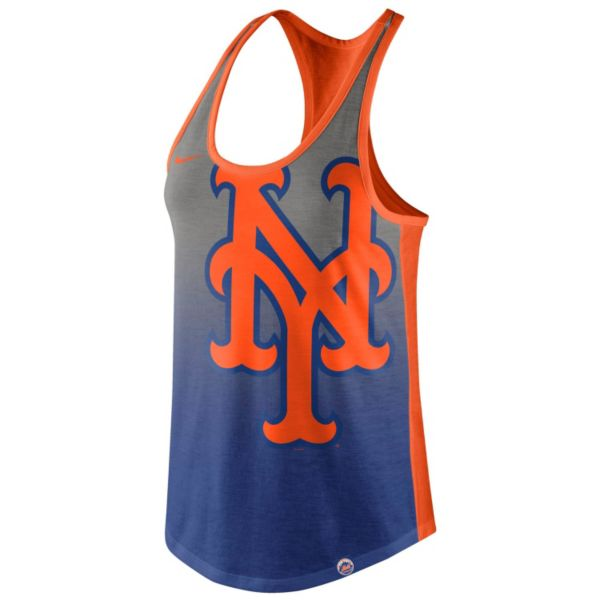 Women's Nike New York Mets Fade Racerback Tri-Blend Tank Top