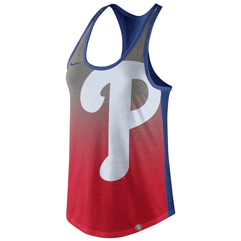 Women's Nike Philadelphia Phillies Fade Racerback Tri-Blend Tank Top