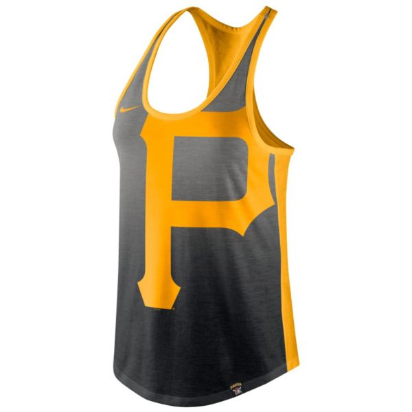 Women's Nike Pittsburgh Pirates Fade Racerback Tri-Blend Tank Top