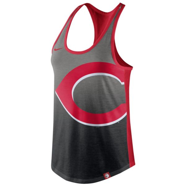 Women's Nike Cincinnati Reds Fade Racerback Tri-Blend Tank Top