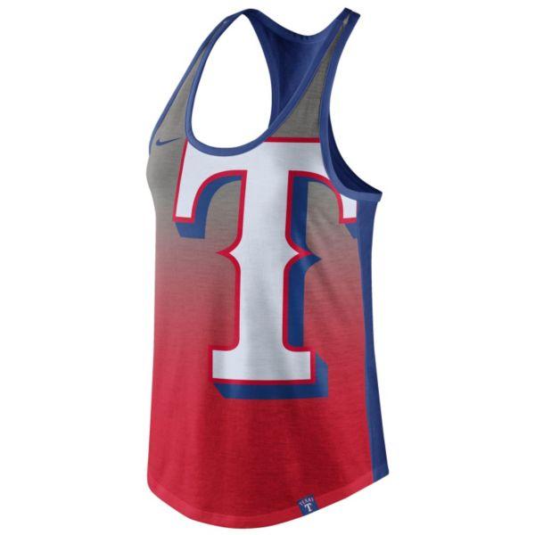 Women's Nike Texas Rangers Fade Racerback Tri-Blend Tank Top