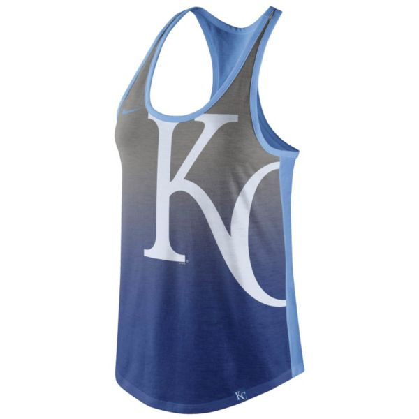 Women's Nike Kansas City Royals Fade Racerback Tri-Blend Tank Top