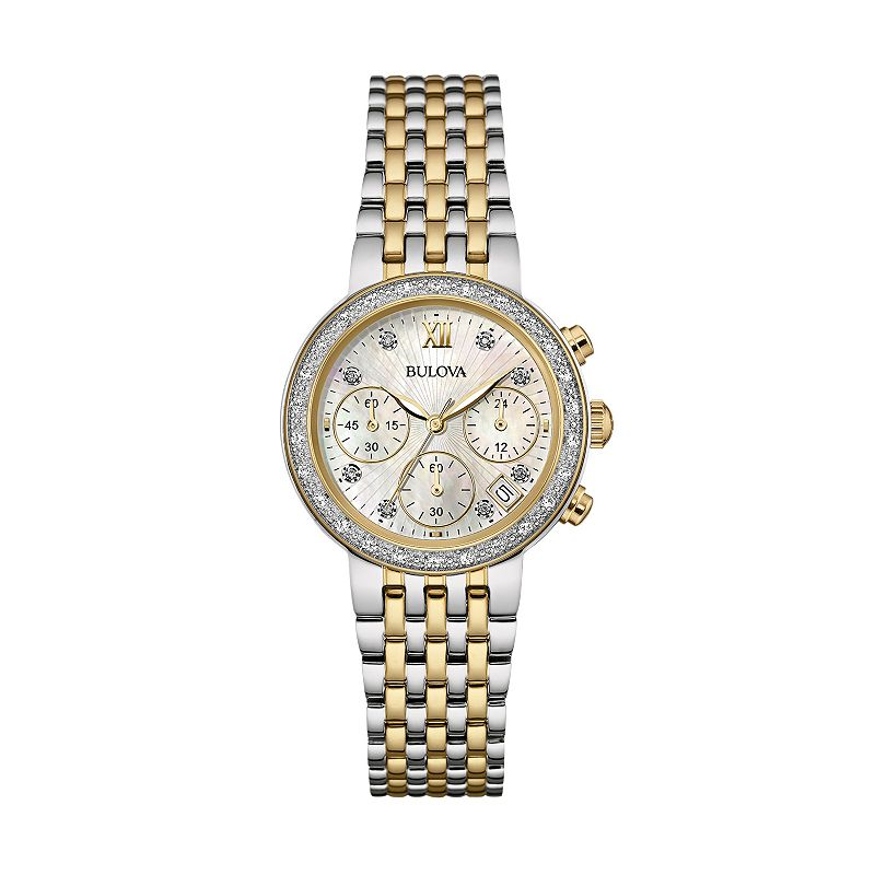 Bulova Women's Two Tone Stainless Steel Chronograph Watch - 98R214