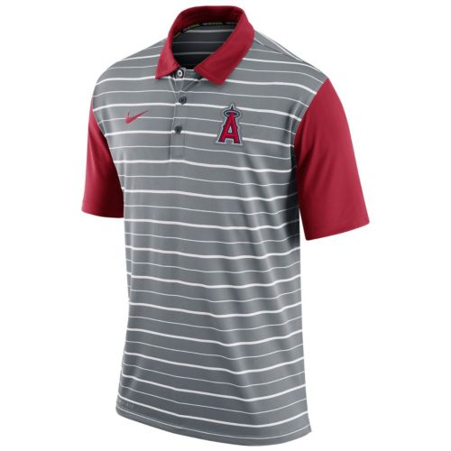 Men's Nike Los Angeles Angels of Anaheim Striped Dri-FIT Performance Polo