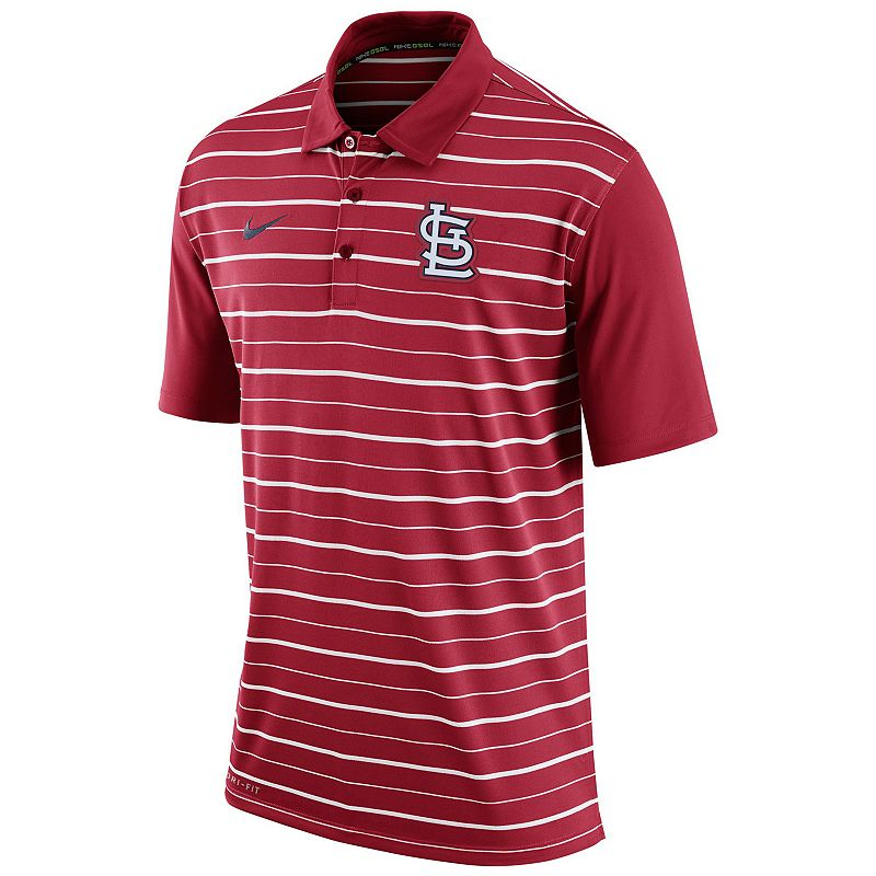 Men's Nike St. Louis Cardinals Striped Dri-FIT Performance Polo