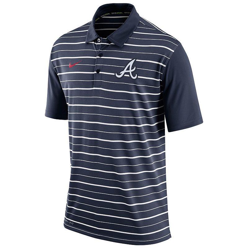 Men's Nike Atlanta Braves Striped Dri-FIT Performance Polo