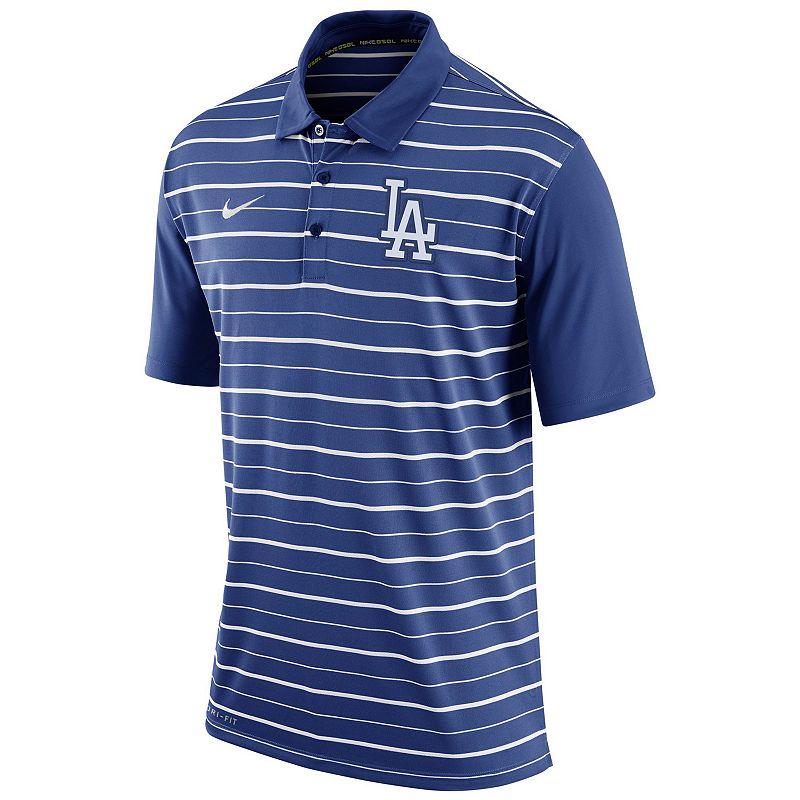 Men's Nike Los Angeles Dodgers Striped Dri-FIT Performance Polo