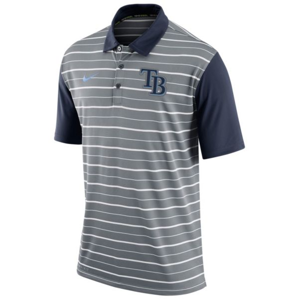 Men's Nike Tampa Bay Rays Striped Dri-FIT Performance Polo