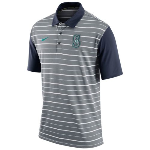 Men's Nike Seattle Mariners Striped Dri-FIT Performance Polo